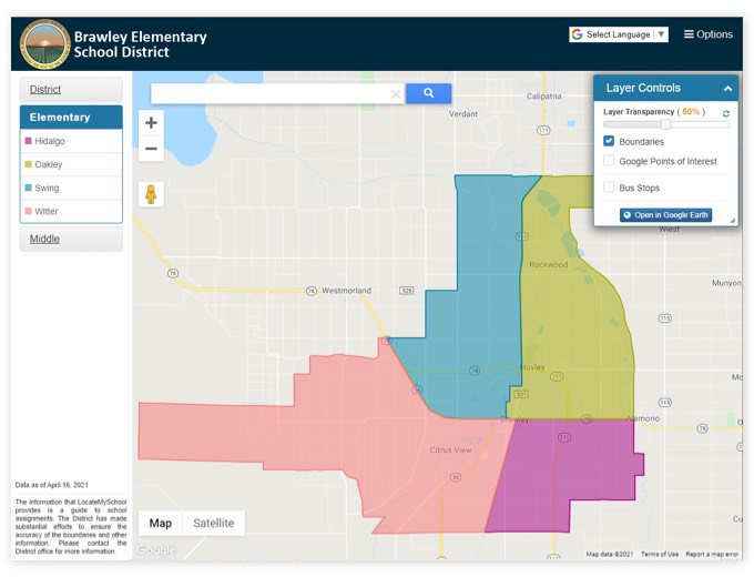 Brawley Elementary School District | GIS Planning Software and Mapping Services