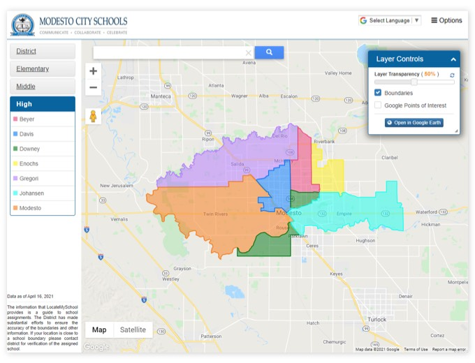 Modesto City Schools | GIS Planning Software and Mapping Services